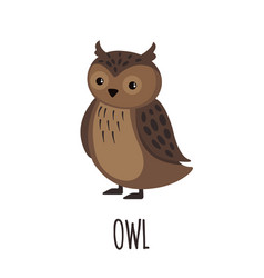 cute owl in flat style vector image vector image