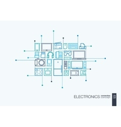 Electronics integrated thin line symbols vector image vector image