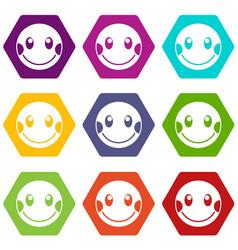 Embarrassed emoticon set color hexahedron vector