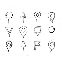 map pointers hand drawn sketch set navigation vector image vector image