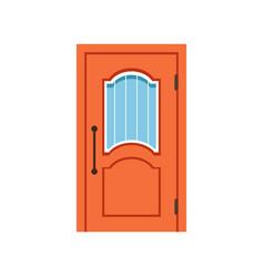 orange entrance door to house closed elegant door vector image vector image