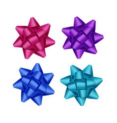 set of bright purple pink blue gift ribbon bows vector image
