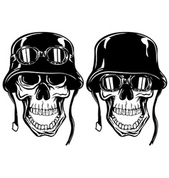 skull in helmet with goggles vector image vector image