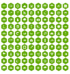 100 diving icons hexagon green vector