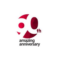 90 th amazing anniversary celebration template vector