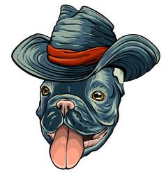 a dog in cowboy hat vector image