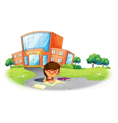 A girl writing in the hole near the school vector image vector image