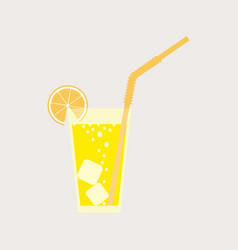 A glass of lemonade a soda on the rocks vector