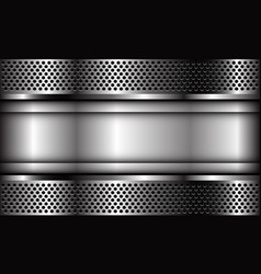 Abstract silver plate banner on metal circle mesh vector