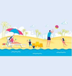 active recreation at seashore family vacation vector image