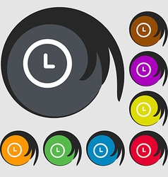 alarm icon Symbols on eight colored buttons vector image