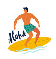 Aloha poster surfer on surfboard catching waves in vector