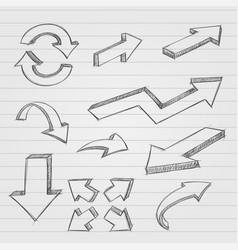 arrows pencil drawing dirty sketch style vector image