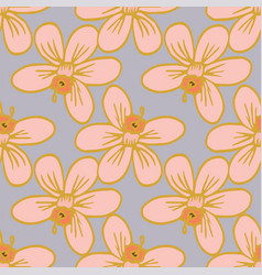 big blossom flowers seamless pattern repeat vector image