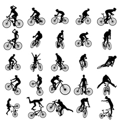 Bike silhouette set vector image