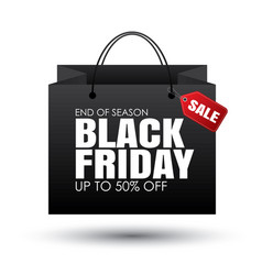 black friday shopping bag and sales tag on white vector image