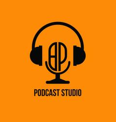Bp monogram headphone and microphone style vector