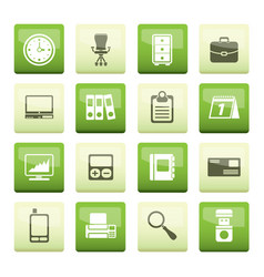 Business and office icons over green background vector