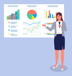 business woman giving a presentation pointing to vector image