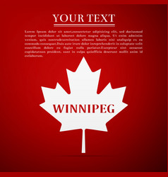 canadian maple leaf with city name winnipeg vector image