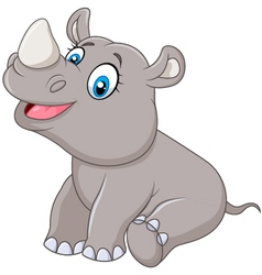 Cartoon baby rhino sitting isolated vector image