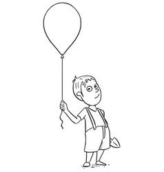 Cartoon of boy with inflatable air ball balloon vector