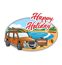 Cartoon suv take a vacation on the beach vector