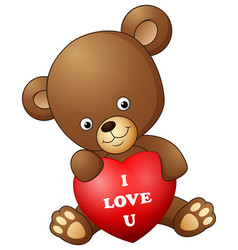 cartoon teddy bear holding red heart vector image