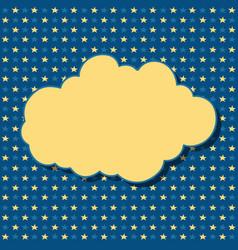Cartoon yellow cloud with shadow on blue vector