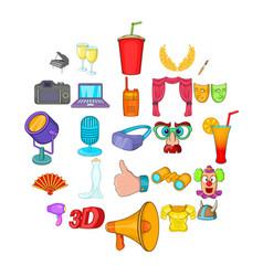 cheer icons set cartoon style vector image