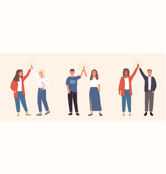 Cheerful friends and colleagues doing high fives vector