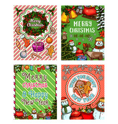 christmas greeting banner with snowman and gifts vector image