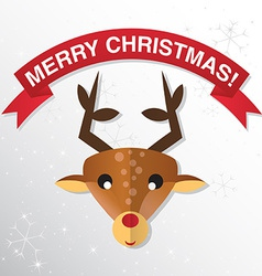 Christmas Greeting Card with reindeer vector image