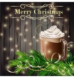Christmas new year design with hot chocolate grey vector