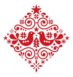 christmas scandinavian floral folk design vector image