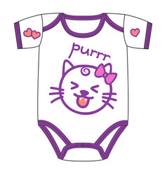 Clothes for newborn girl with cute kawaii cat vector