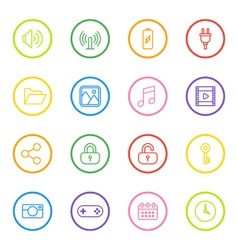 Colorful line web icon set with circle frame vector