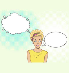 comic empty speech bubbles retro girl pop art vector image