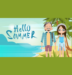 Couple on beach hello summer vacation tropical vector