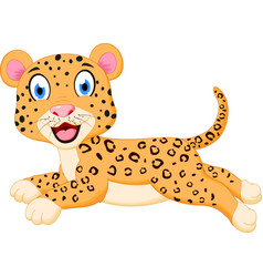 Cute leopard cartoon jumping vector