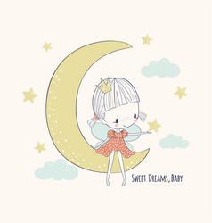 cute little fairy on moon vector image