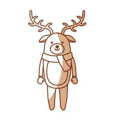 Cute shadow christmas deer cartoon vector