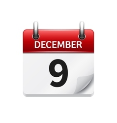 December 9 flat daily calendar icon Date vector