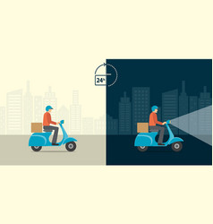 Delivery 24 hour concept delivery man ride vector