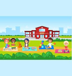 education in school kindergarten kids on lawn vector image