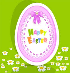 Egg-laced Easter postcard on green background vector