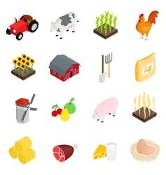 Farm isometric 3d icons set vector image