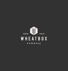 Farmer box wheat logo hipster vintage retro icon vector