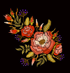 Fashion floral embroidery vector