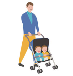 father with babies in a stroller vector image